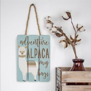 Wooden Wall Art - ALPACA MY BAGS (small) NEW